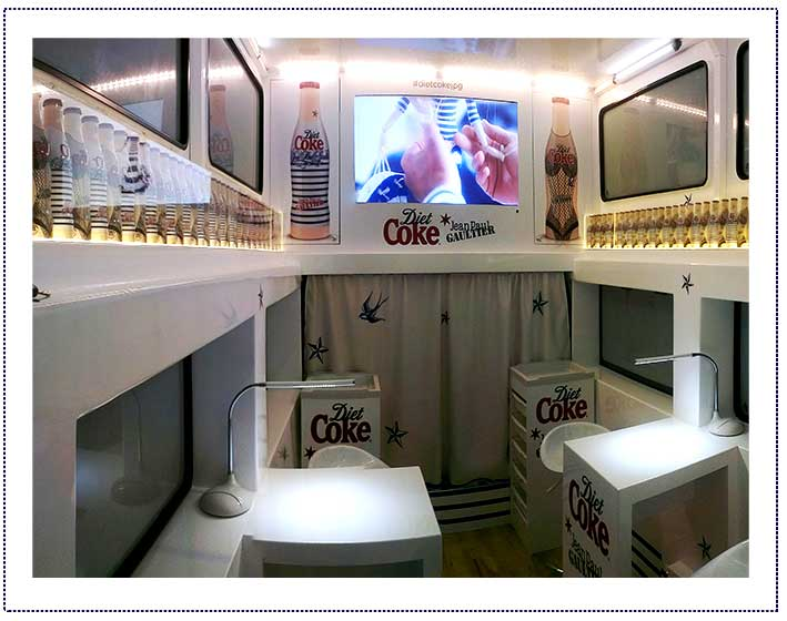 Diet coke jpg experiential bus uk tour scene2 ltd Tour bus interior design