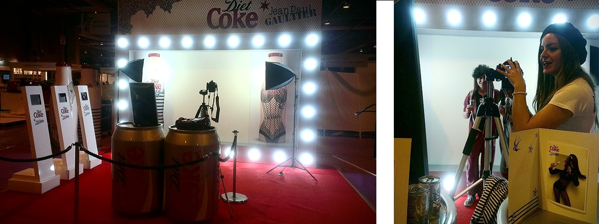 Diet Coke Experiential exhibition stand with photobooth