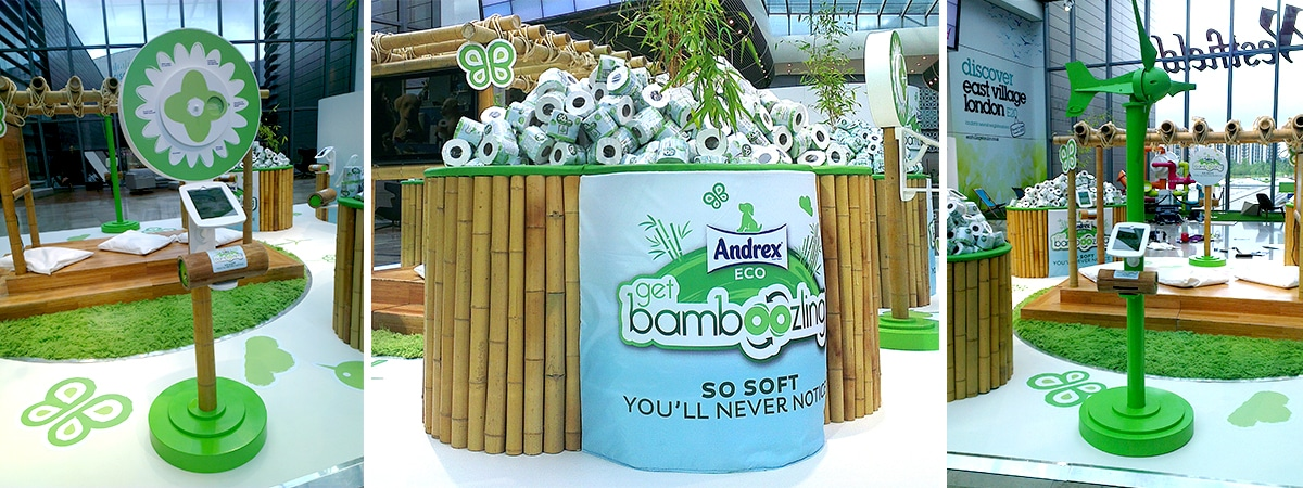 Experiential Sampling Stand for Andrex Bamboozled UK Shopping Centre Tour