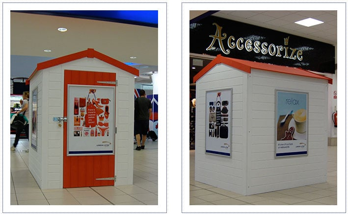 Marketing Exhibition Stand Goals : Beach hut at luton airport for goal scene