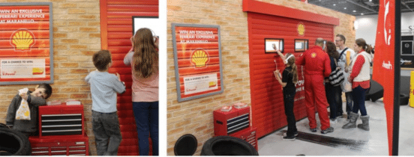 Our exhibition stand for Shell included a roller shutter that expelled smoke, with glaring headlights, and the thrilling sound of a revving engine to attract nearby customers to their stand.