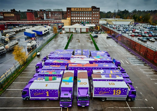 cadburys advent trucks