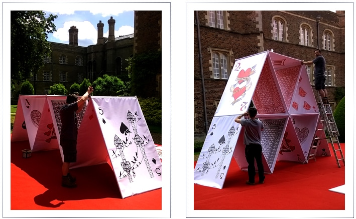 jesus college may ball giant house of cards - under construction